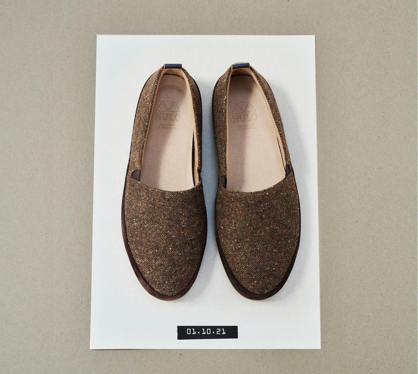 Brown Tweed Mens Slippers House Shoes