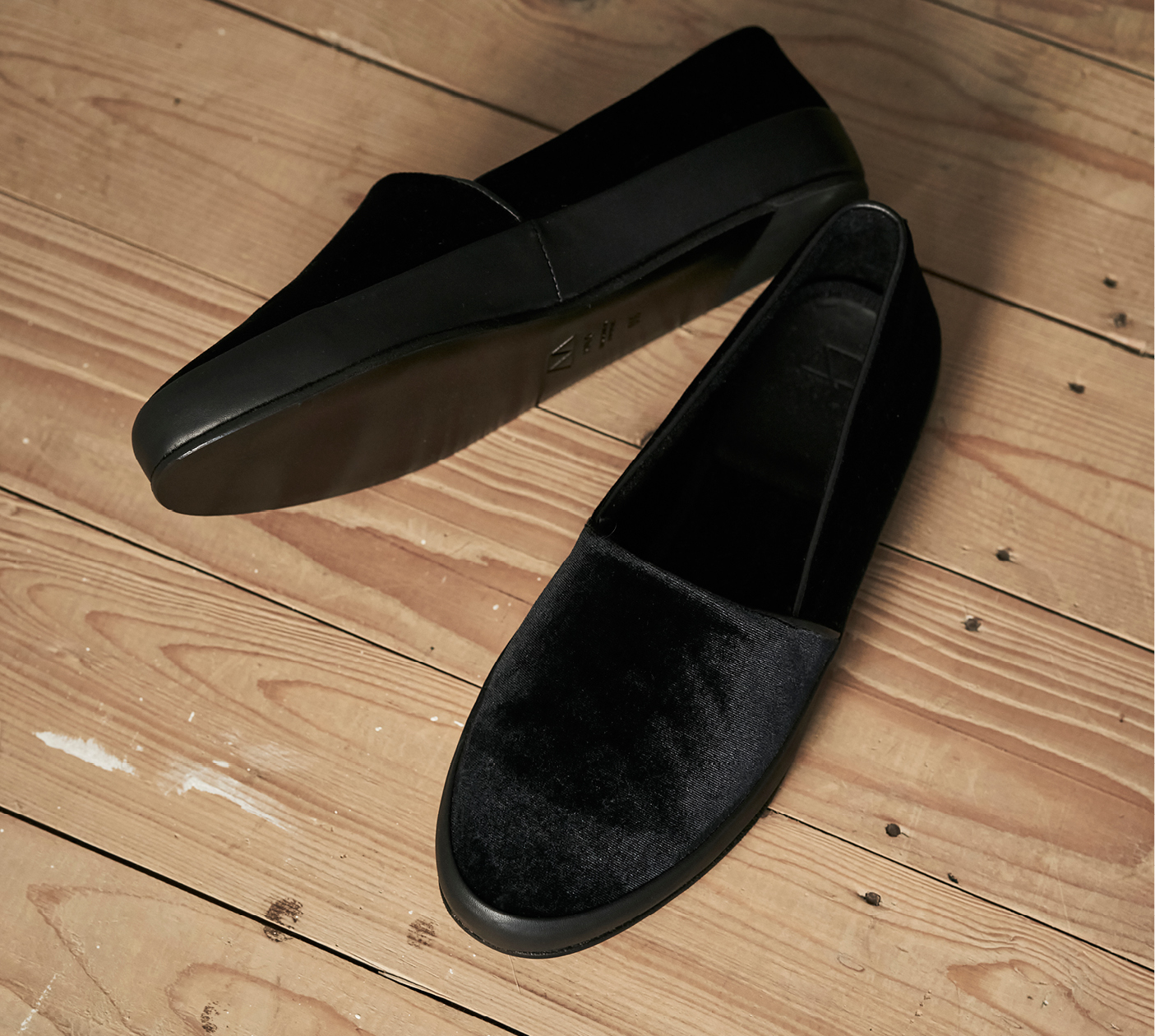 Black Velvet Mens Slippers