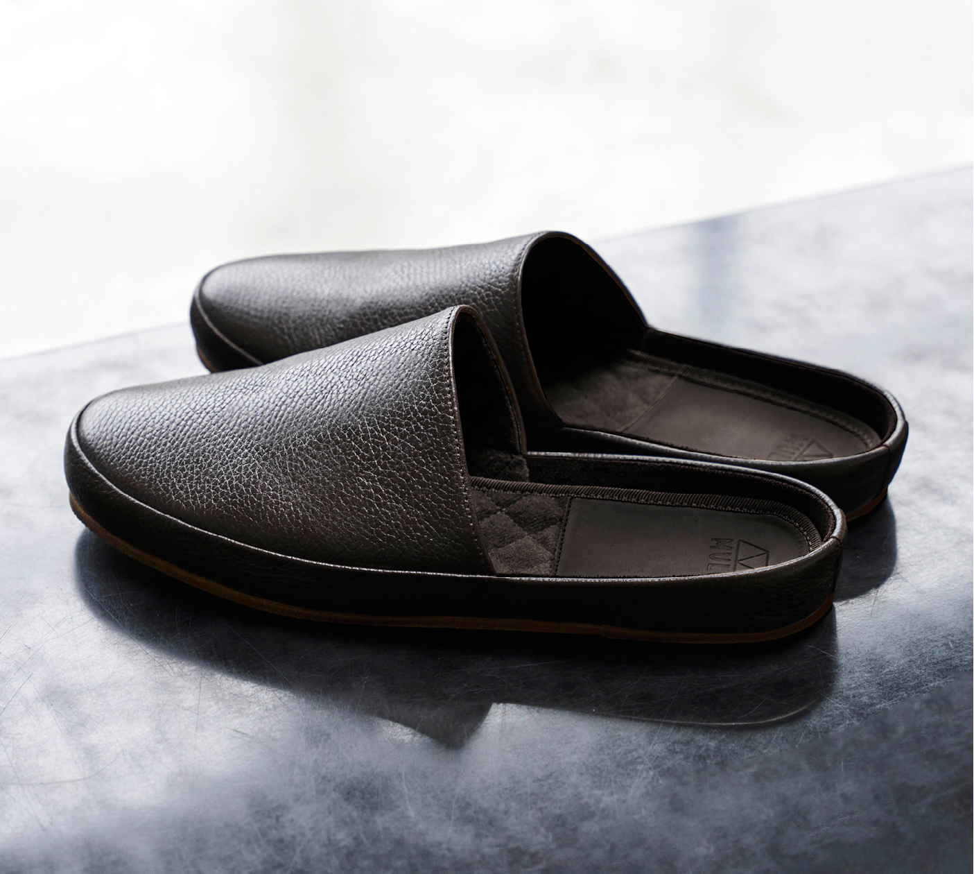 Brown Leather Mens Slippers