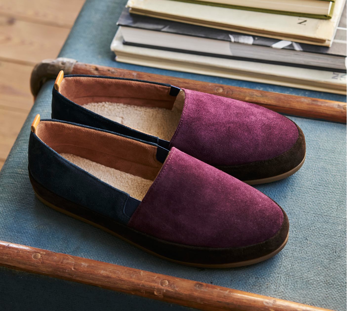 Colour-block Suede Mens Slippers