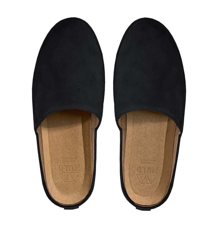 Suede Black Backless Mens Slippers
