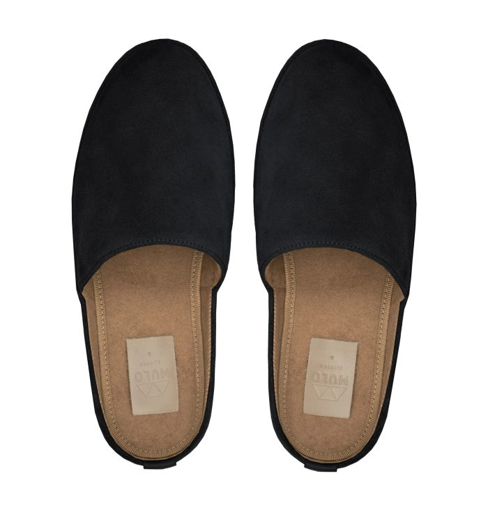 Backless Slippers for Men in Black Suede