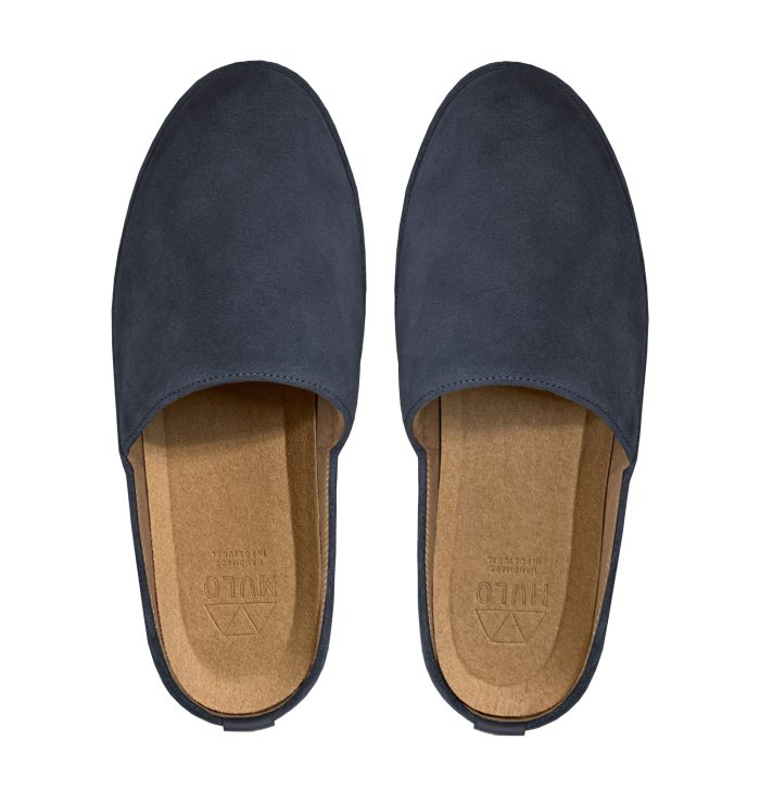 Suede Slate Blue Backless Mens Slippers