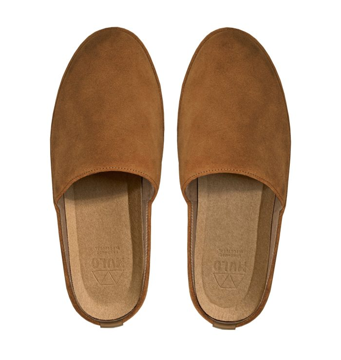Suede Tobacco Brown Backless Mens Slippers