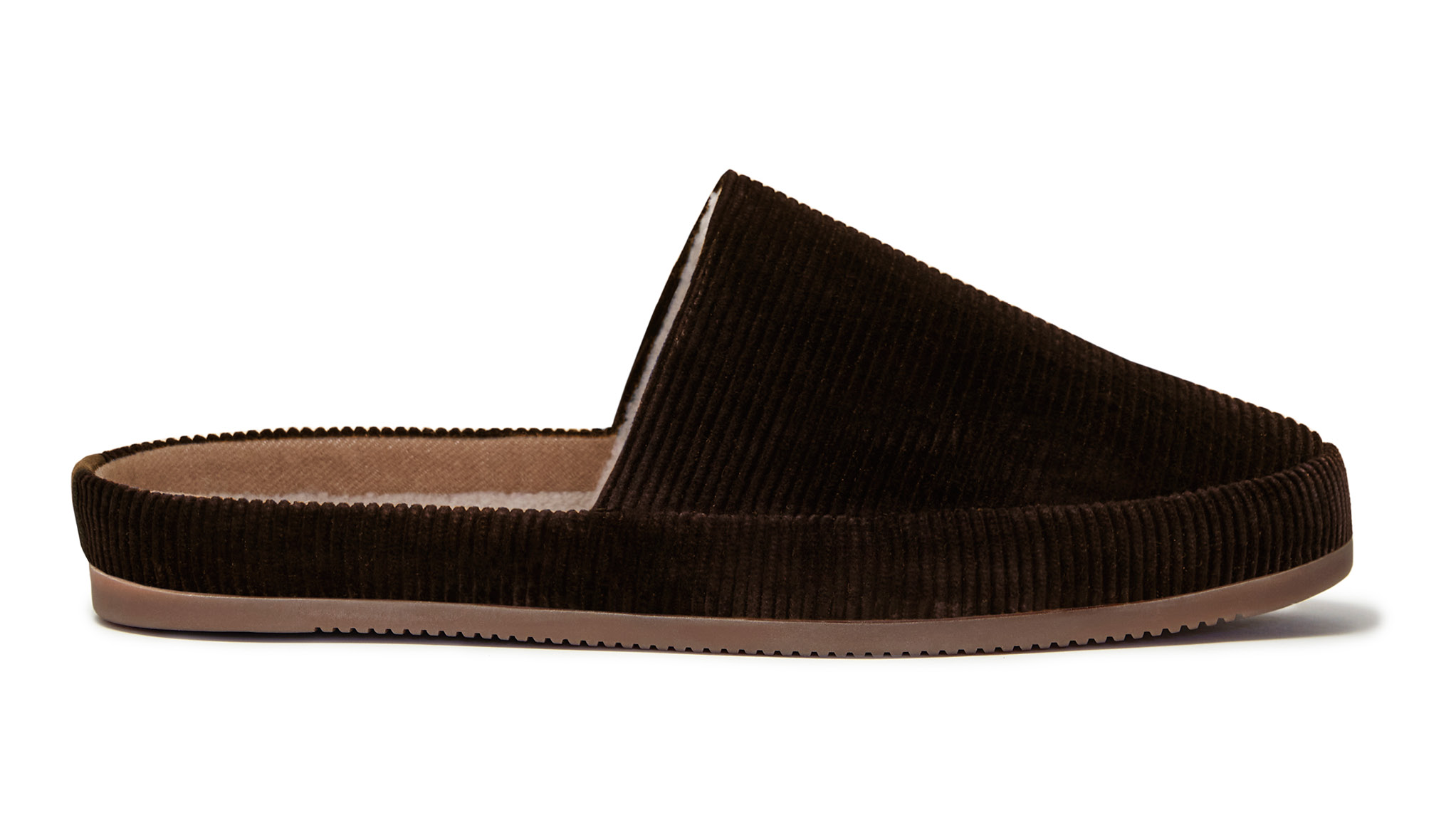 Mens Backless Slippers in Brown Corduroy
