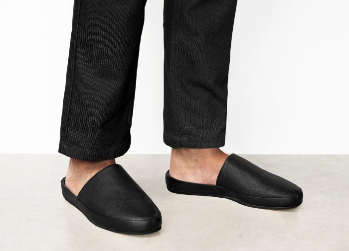 Mens Leather Black Slippers