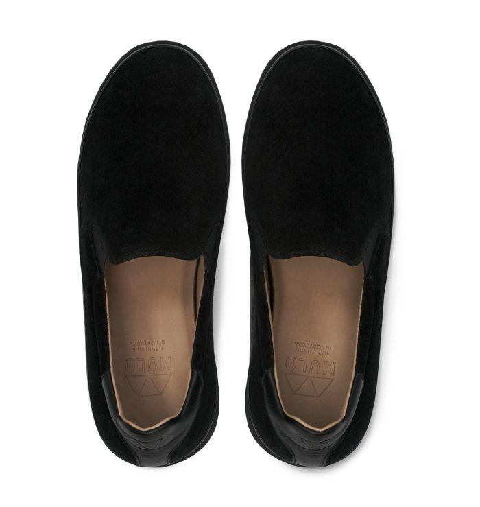 Black Suede Slip-On Mens Sneakers