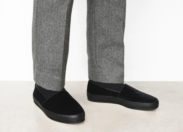 Black Velvet Mens Slippers