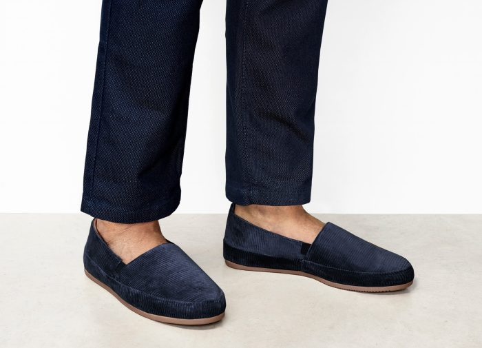 Blue Corduroy Mens Slippers