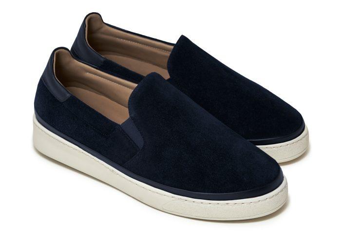Mens Slip-On Sneakers in Dark Blue Suede | MULO shoes