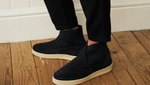 Mens Slippers - Blue Suede Slipper with Rib Knit Collar
