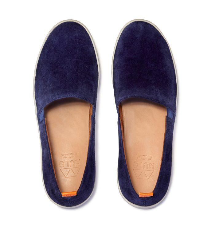 Mens Slip-On Sneakers in Blue Suede