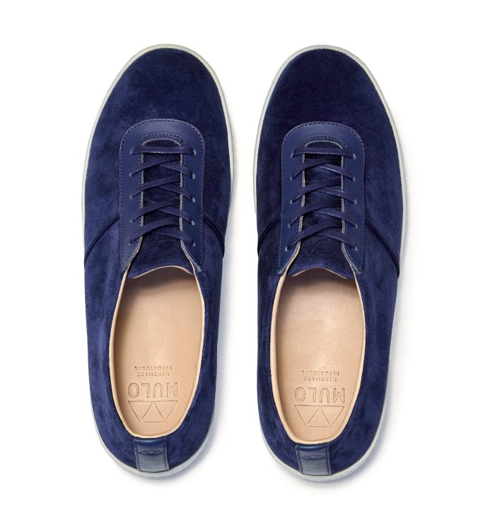 Lace-Up Blue Sneakers for Men in Navy Suede
