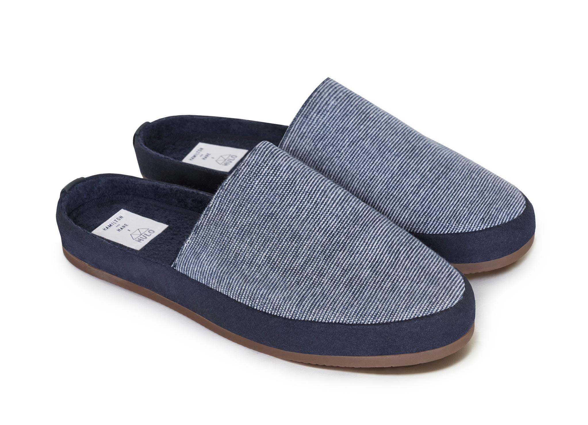 Blue Striped Backless Slippers for Men