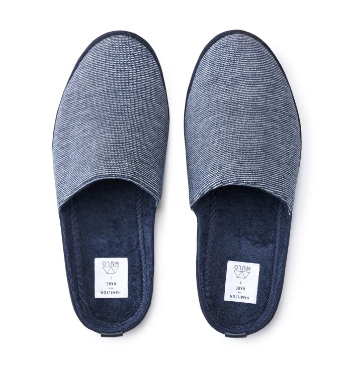Mens Blue Striped Designer Slippers