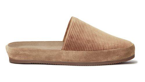 Corduroy Slip-On Slippers for Men in Camel