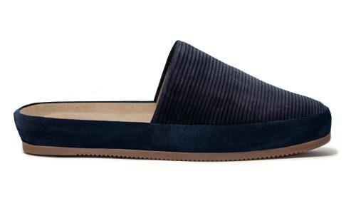 Corduroy Slip-On Slippers for Men in Navy Blue