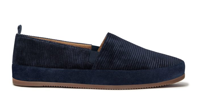 Corduroy Slippers for Men in Navy Blue