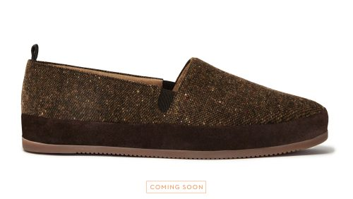 Brown Donegal Tweed Slippers for Men - Preorder now