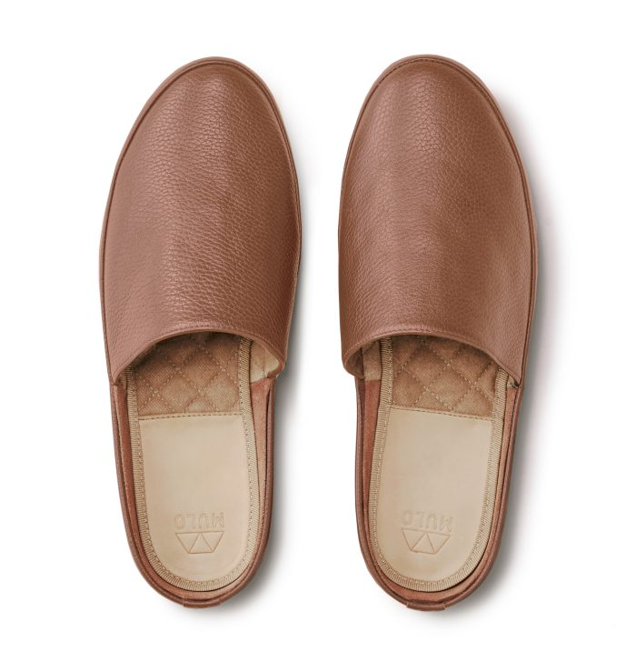 Summer Slippers for Men in Light Brown Leather