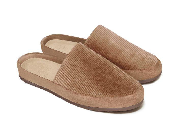 Camel Slip-On Slippers for Men in British Corduroy