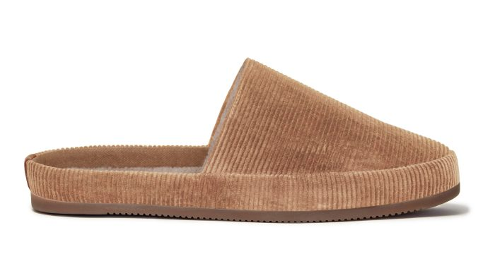 Mens Camel Slippers in Corduroy
