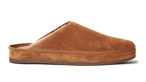 Chestnut Brown Suede Men's Sheepskin Slippers
