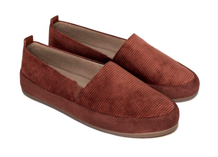 Cognac Slippers for Men in British Corduroy