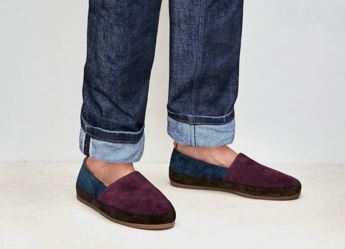 Colour-blocked Suede Slippers for Men