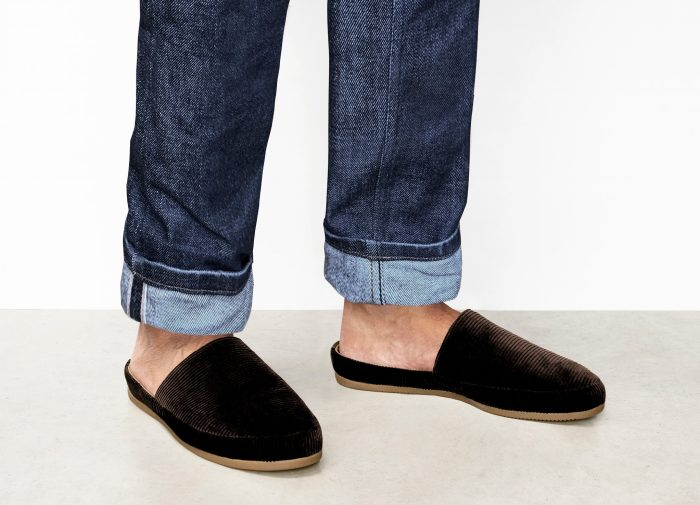 Corduroy Brown Mens Slippers