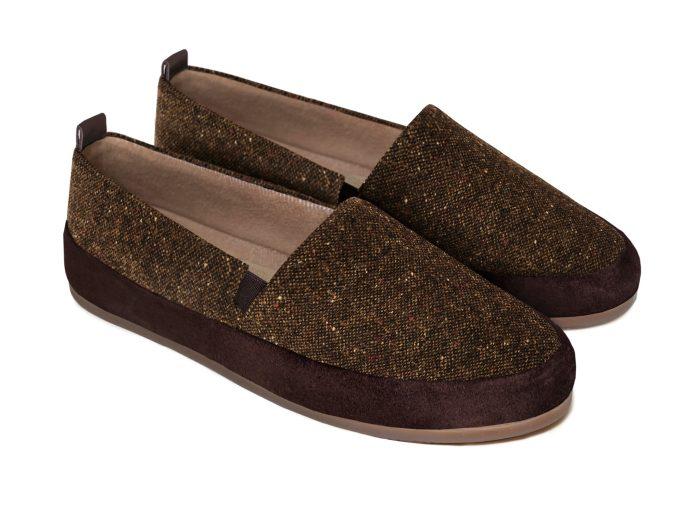 Dark Brown Slippers for Men in Donegal Tweed