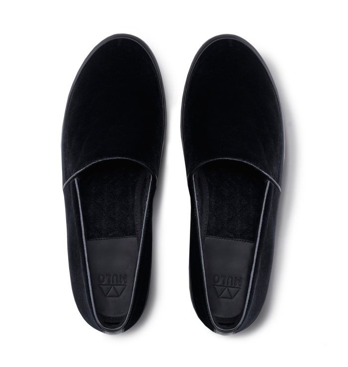 Velvet Evening Slippers in Black