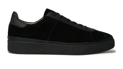 Lace-Up Black Mens Sneakers in Suede
