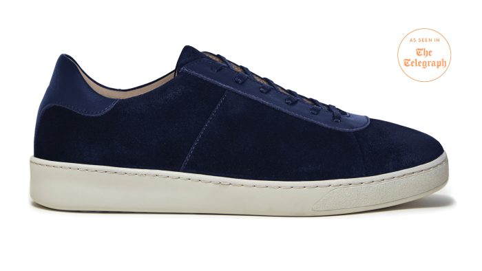Lace-Up Blue Sneakers for Men in Dark Navy Waxed Suede