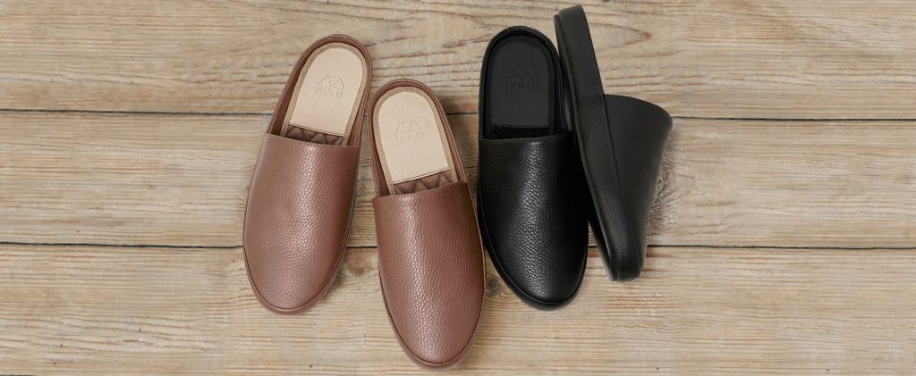 Backless Mens Slippers in Italian Leather