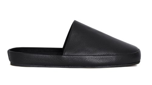 Leather Slippers for Men in Black