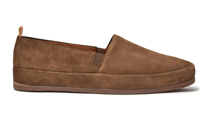 Suede Mens Loafers in Light Brown