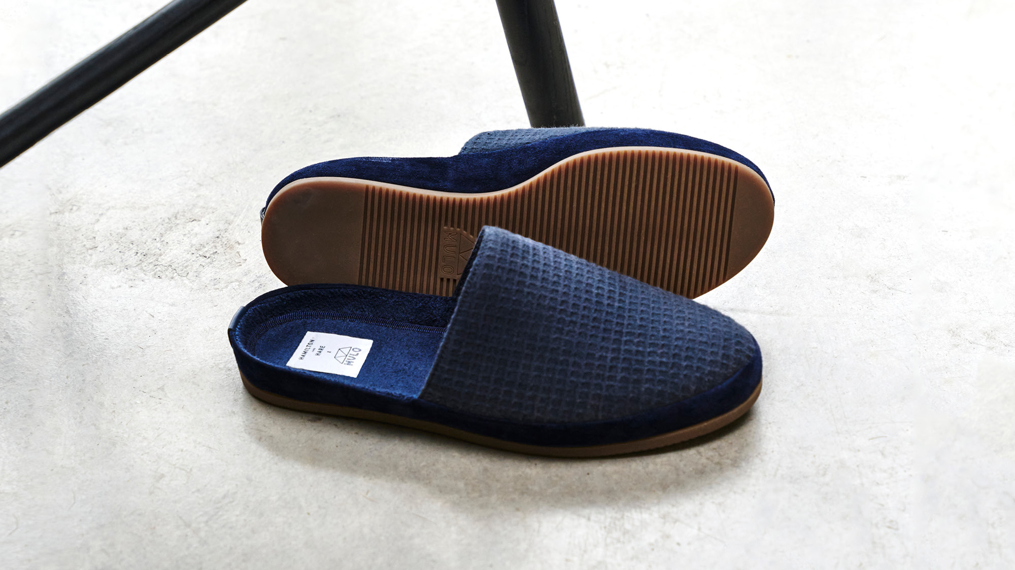 Limited Edition Mens Shoes - Backless Blue Slippers