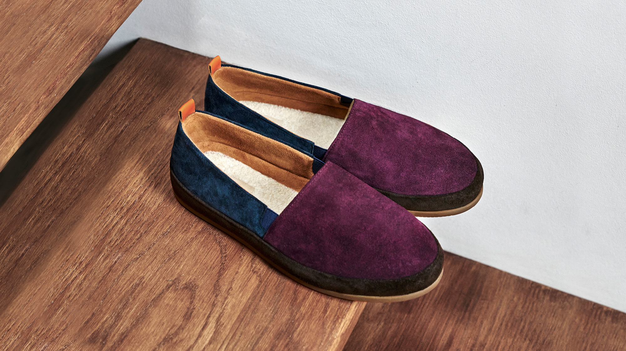 Limited Edition Slippers - Color-blocked Suede Slippers for Men