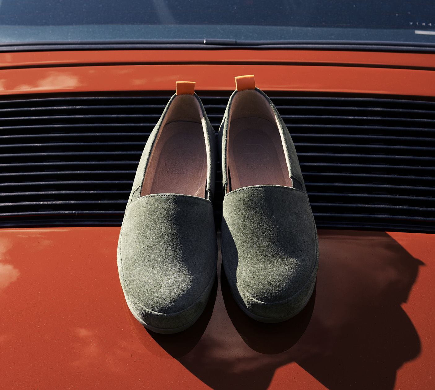 Suede Khaki Loafers for Men