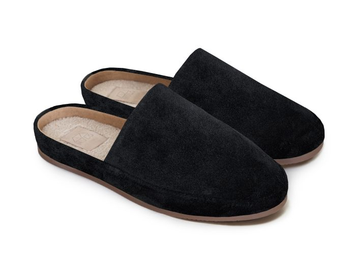 Mens Black Slippers in Waxed Suede