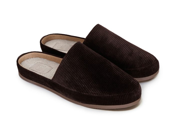 Mens Slippers in Brown Corduroy | MULO shoes