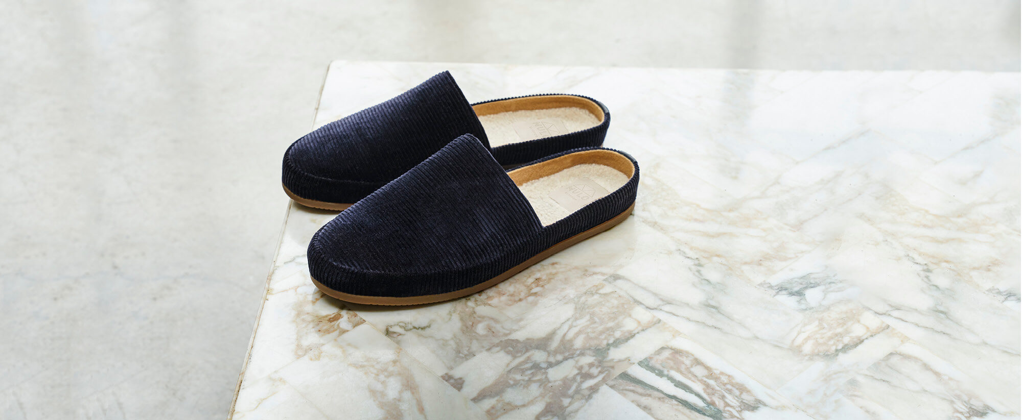 Blue Corduroy Backless Slippers