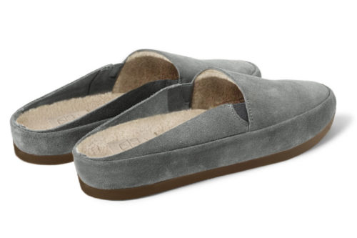 Mens Slippers in Grey Suede
