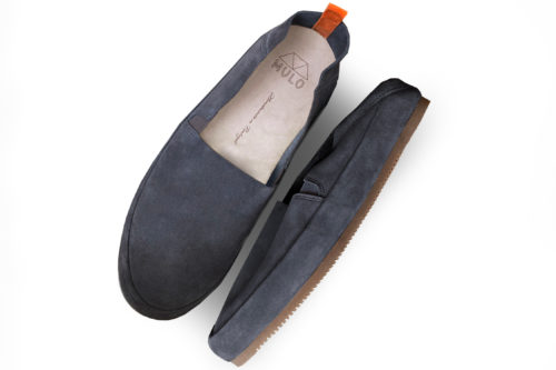 MULO shoes | Mens Slate Blue Suede Travel Loafers Foldable-Heel