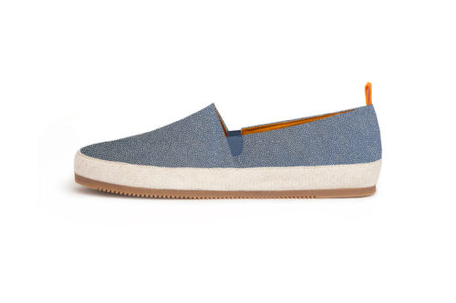 MULO shoes Espadrilles Blue Dot Japanese Print Handmade
