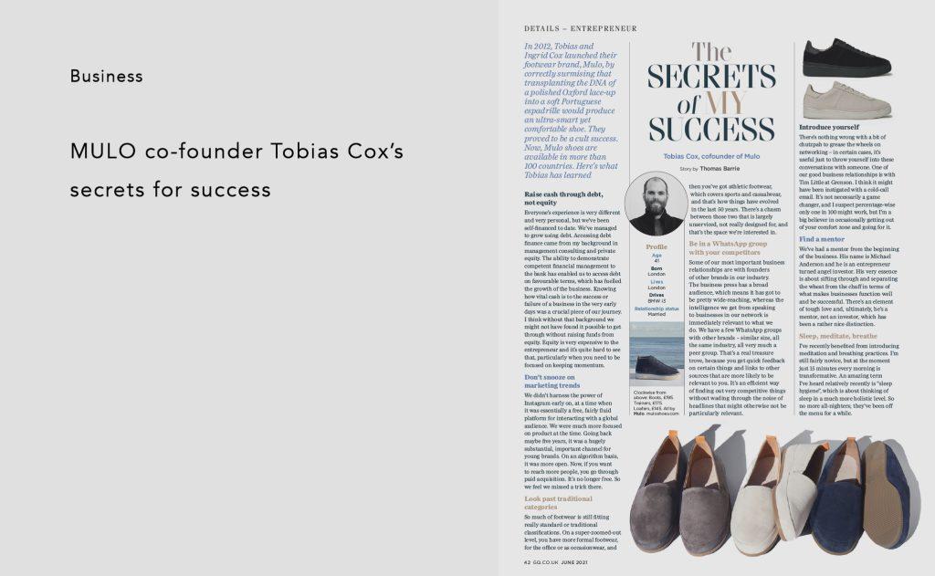 GQ - MULO co-founder Tobias Cox's secrets for success
