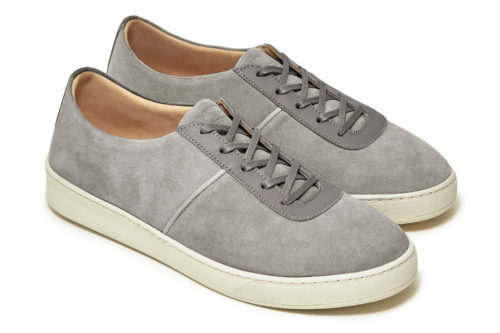 Grey Suede Lace-Up Sneakers for Men