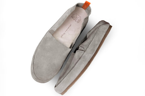 MULO shoes | Mens Light Grey Suede Travel Loafers Foldable-Heel