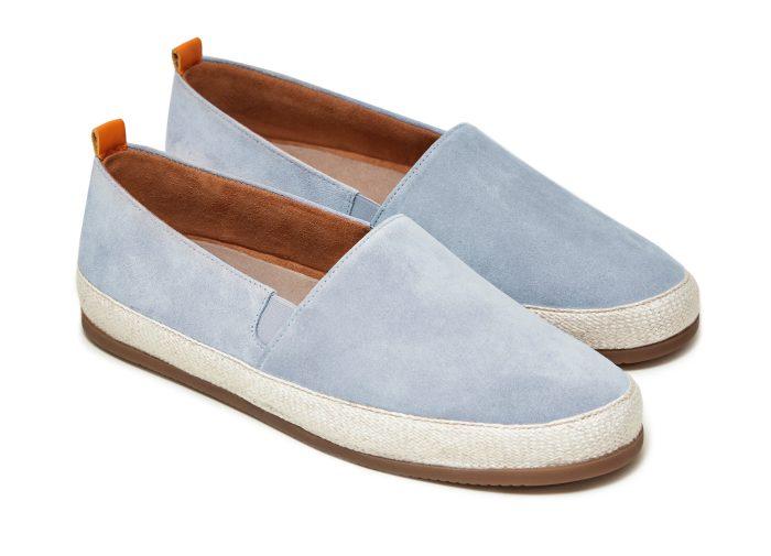 Mens Designer Espadrilles in Light Blue Suede   MULO shoes